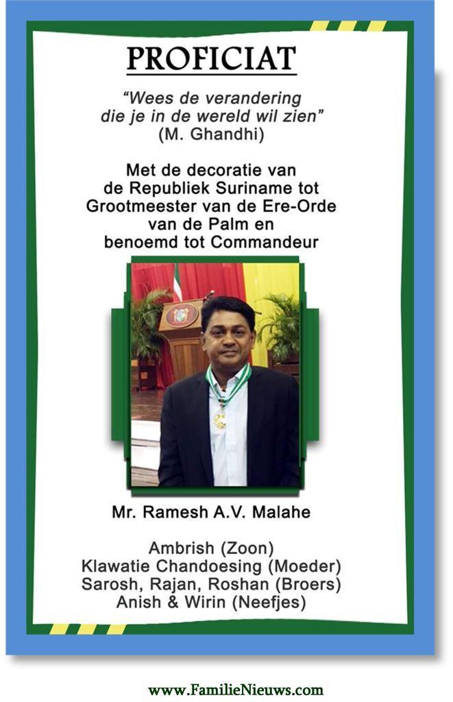 Gefeliciteerd Ramesh Malahe Familienieuws Com